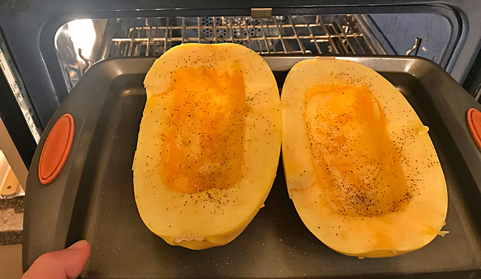 making-spaghetti-squash-dinner
