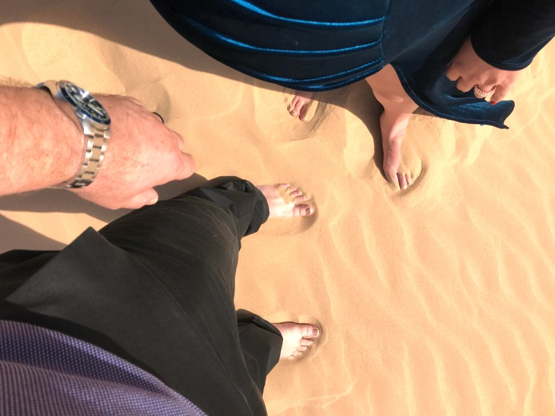 The hot sand on our feet felt sharp and pointy compared to the softer sand at the beach from the other day.