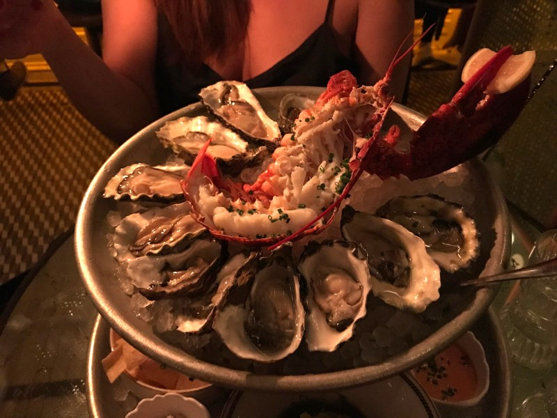 Now on top of this platter is a ring of juicy oysters and a 1/2 lb lobster. These oysters were quite large and yummy when we added some of the horse radish and lemon. The lobster was chilled and with a splash of lemon we dug in with our forks to finish off the platter.