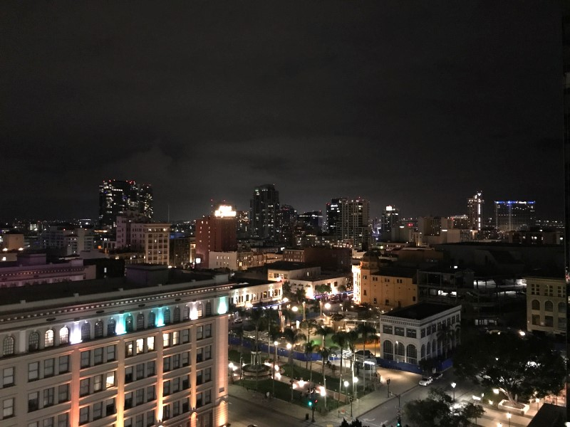 The night view over the city from our room at the Westgate Hotel.
