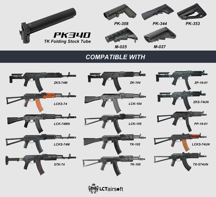 Check out all the options for the LCT Airosft PK200 and PK340 stock options.